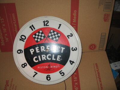 PERFECT CIRCLE PISTON Rings lighted light up oil gas station sign clock  racing