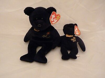 "Two 1999 Ty Original Beanie Babies THE END Fireworks Black Bear w/Tags (9"" & 5"")"