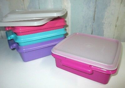 Vintage LOT of 4 ~ Tupperware square sandwich lunch containers with lids