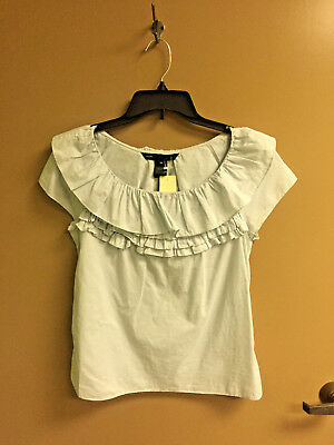 Marc by Marc Jacobs Ruffle Neck Top Blouse Size XS Extra Small Grey Dawn Stain