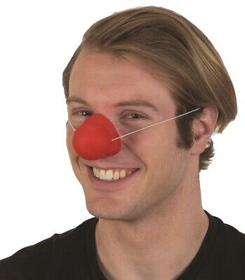 Fancy Dress Vinyl Circus Accessory Red Honking Clown Nose On Elastic