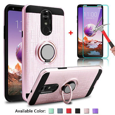 For LG Stylo 4/ 4+ Plus Shockproof Ring Holder Stand Case with Screen Protector
