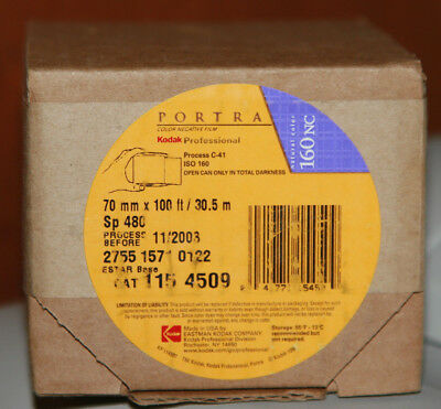 Kodak Portra 160NC Professional Color Film 70mm x 100' Kept in Freezer Out-Dated