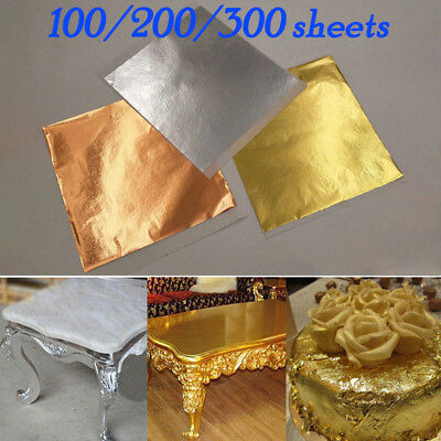 100/200/300 Sheets Gold Silver Copper Leaf Foil Paper Gilding Art Craft 14x14cm