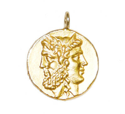 GOLD Ancient Coin Pendant, Greek Janice, coin jewelry, coin pendant