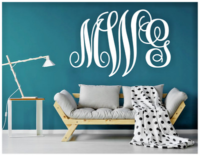"""22"""" Wide Monogram Name Initials Wall Decal Your Choice Of Color Fancy Letters"""