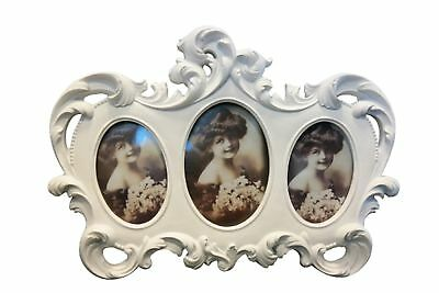 Picture Frame 3 Baroque White Antique Photo Stehrahmen Shabby Patina Cottage