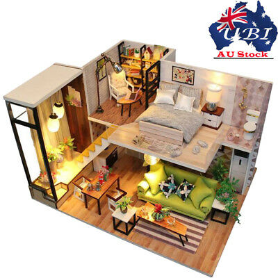 Dollhouse Miniature DIY Kit with Cover Wood Toy Doll House Cottage W/LED light G