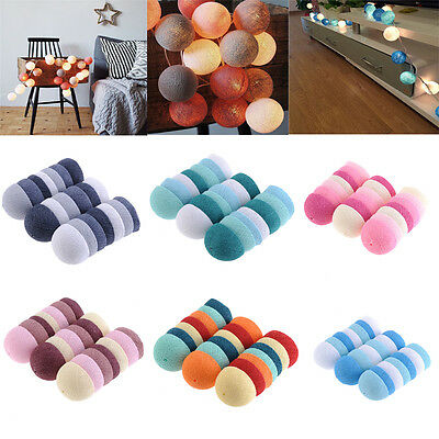 20 Cotton Ball Fairy LED String Lights Holiday Wedding Party Patio Festival Deco