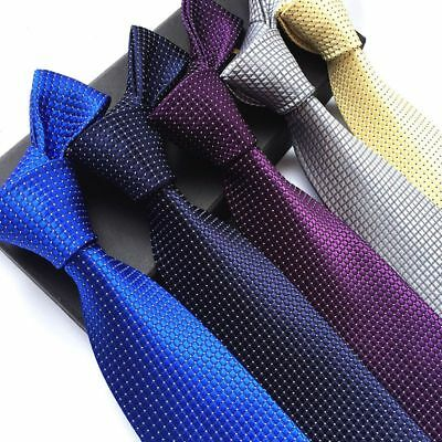 US Mens Ties Polyester Business Executive Lattice Casual Wedding Party Dress Tie
