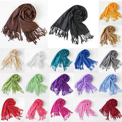 Women Scarves Pashmina Solid Shawl Stole Warm Long Scarf Plain Wrap QM