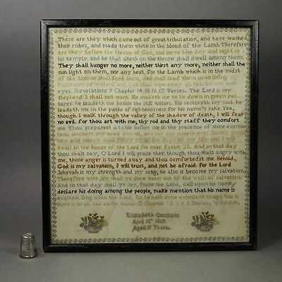 RARE Antique Sampler Victorian 1869 Very Intricately Stitched Revelations
