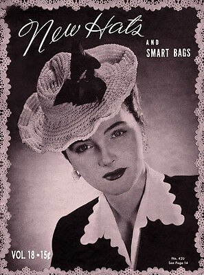 Bear Brand Special #18 c.1944 Vintage Fashion Patterns for Crocheted Hats & Bags