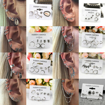 Lot Punk Men Women Fashion Jewelry Earrings Ear Cuff Wrap Clip On Gothic Gift