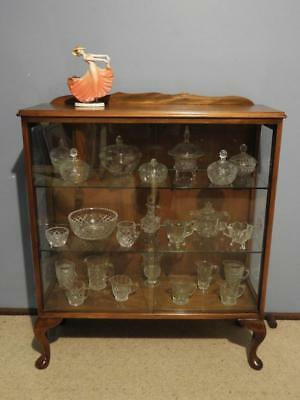 VINTAGE MID CENTURY ART DECO RETRO QUEEN ANNE CRYSTAL CHINA DISPLAY CABINET 40s