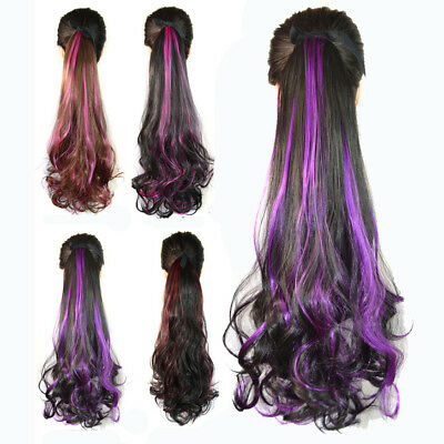 Synthetic Tie on Ponytail Hair Extension Nature Curly Wave Multicolor Hairpiece