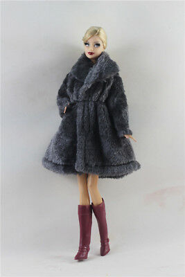 2in1 Fashion  Outfit  clothes Gray Fur Winter Coat +Boots  FOR Barbie Doll