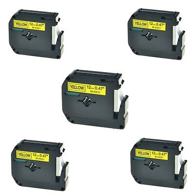 """5PK M-K631 MK631 Black on Yellow Label Tape For Brother P-Touch PT-55BM 1/2"""""""