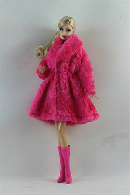 2in1 Fashion  Outfit clothes Rose Winter Coat +Boots  FOR 11.5in.Doll