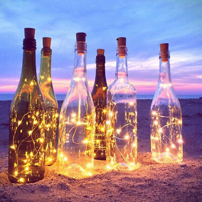 20-LED Copper Cork Shape String Lights Wine Bottle Wire Strip Fairy Party Decor