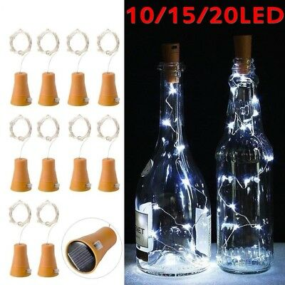 10/15/20 LED Solar Weinflasche Kork String Light Nacht Fairy Party Licht Lampe #