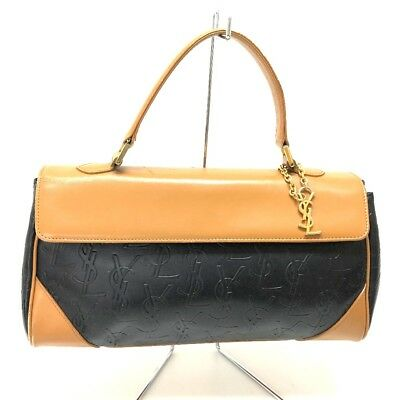 0309df1f2b AUTHENTIC YVES SAINT LAURENT YSL Logo Charm Leather Tote Hand Bag Black /Brown