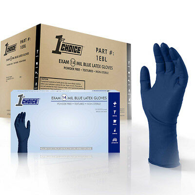 1st Choice Blue Latex Medical Exam Powder Free Disposable Gloves (Case of 500)