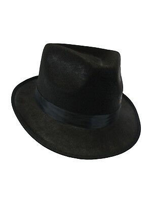 ec5c5cc92075c Black Gangster Felt Fedora Hat Al Capone Blues Brother Trilby Costume  Accessory