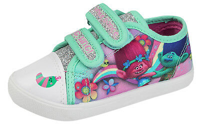 Trolls Princess Poppy Glitter Canvas Pumps Girls Skate Plimsolls Summer Shoes