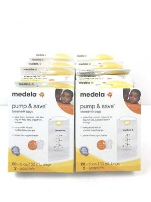 Medela Pump & Save Breast Milk Bags 10 x 20 = 200 Brand New + 20 Adapters