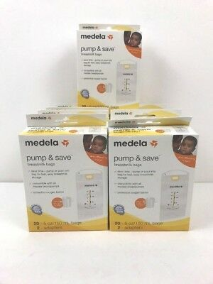 Medela Pump & Save Breast Milk Bags 9 x 20 = 180 Brand New + 18 Adapters