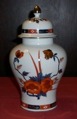 Vintage Japanese Lidded Porcelain Jar With Imari Decor Excellent Condition