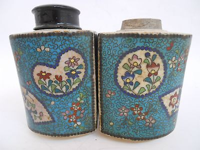 Pair Unusal Antique Chinese Cloissone Tea Jars Caddies