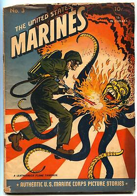 United States Marines #3 1944-Famous Anti Japanese Flamethrower cover Tojo G+