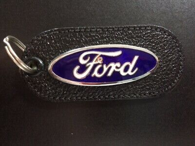 Vintage Leather Torpedo Key Fob Key Chain Ford Torino GT Red/White