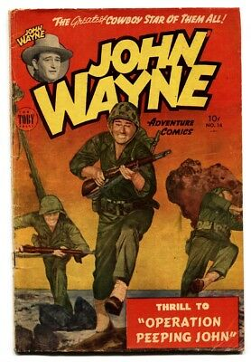 JOHN WAYNE ADVENTURE #14-IWO JIMA - comic book -1952-KOREAN WAR  VG