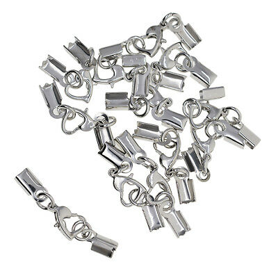 12 Sets Lobster Claw Clasp Cord Crimp Cap Lobster Hook for Jewelry Silver