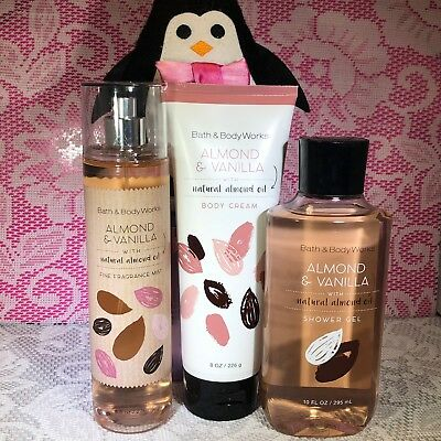 Bath and Body Works Almond and Vanilla Set Mist Spray, Body Wash Gel and Lotion