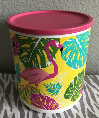 Tupperware Large Canister w/ Seal Flamingo w/ Yellow & Pink Seal 14 Cups New