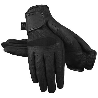 Ladies Horse Riding Gloves Synthetic Leather Sereno Equestrian Black