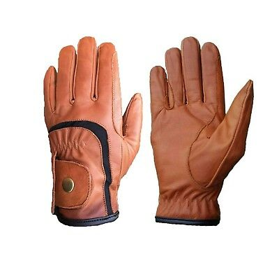 Ladies Horse Riding Gloves Genuine Leather High Quality Equestrian Brown