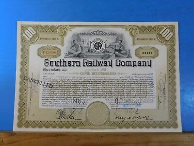 Stock certificate Southern Railway Company #F129386 100 shares Carothers & Clark