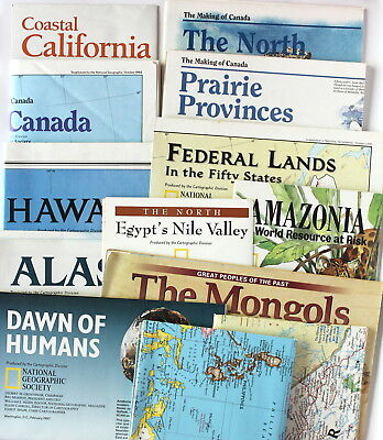 13 VTG National Geographic Canada USA Historical Folded Paper Map Mixed Lot