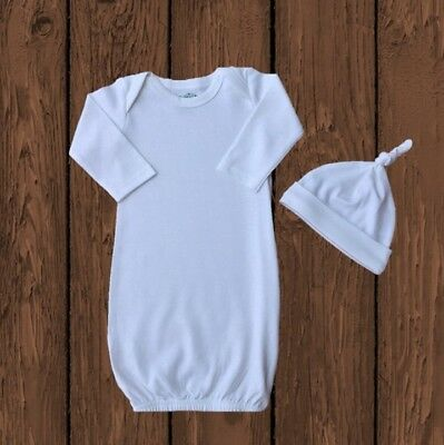 PLAIN White Infant Baby Gown and Beanie Hat Unisex Embroidery Blank Zipper NEW
