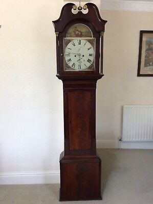 Antique Flamed Mahogany Cased 8 Day Striking Longcase Grandfather Clock