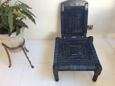 Antique Indian low chair navy blue rope seat