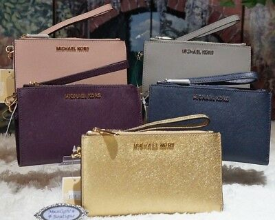 f8570673d3c5 MICHAEL KORS Jet Set Travel DOUBLE-Zip Wristlet/Wallet SAFFIANO Leather  VARIOUS