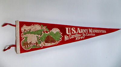 "Vintage 1941 WWII WW2 US Army Manuevers North South Carolina 25"" Red Pennant"