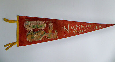 "Vintage 1940s WWII WW2 Nashville Tennessee Scarritt College Souviner 27"" Pennant"