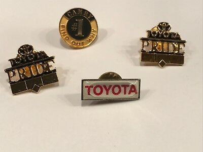 4 Lot Vtg Collectible Toyota Camry Automobilia Logo Lapel Pin Hat Tie Sales Rep
